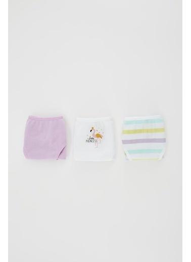 DeFacto Kız Çocuk 3'lü  Baskılı Renkli Külot Beyaz
